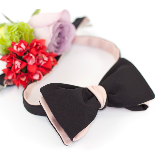 Papion Self-tie Black & Rose